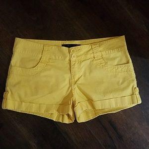Yellow guess shorts